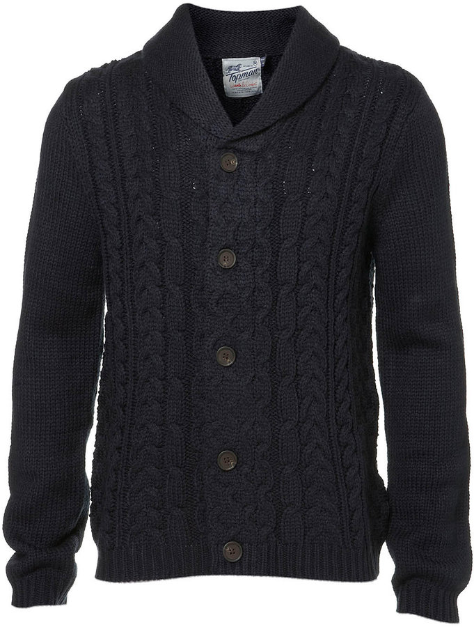 Topman Navy Elbow Patch Cable Knit Cardigan