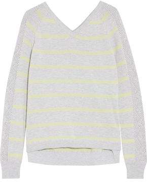 Autumn Cashmere Pointelle Knit-Paneled Striped Cotton Sweater