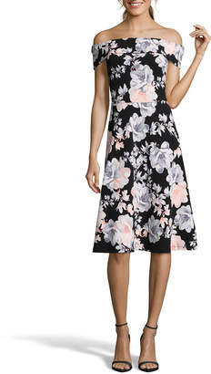 Nicole Miller Studio Off-The-Shoulder Floral Fit-&-Flare Dress