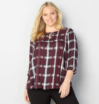 Avenue Plaid Lace Trim Pullover