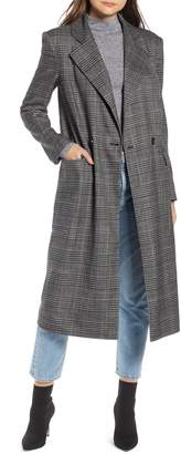 Something Navy Plaid Topper Coat