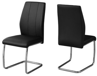 """Monarch Specialties DINING CHAIR - 2PCS / 39""""H / BLACK LEATHER-LOOK / CHROME"""