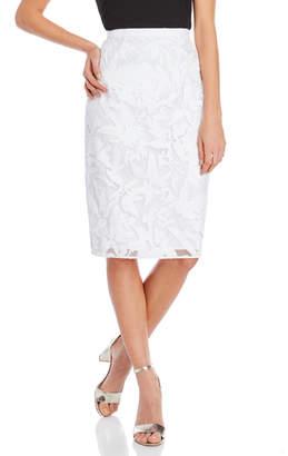 Milly White Floral Slim Midi Skirt