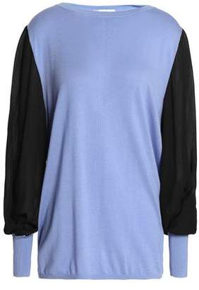 Amanda Wakeley Ray Crepe De Chine-Paneled Silk Wool And Cashmere-Blend Sweater