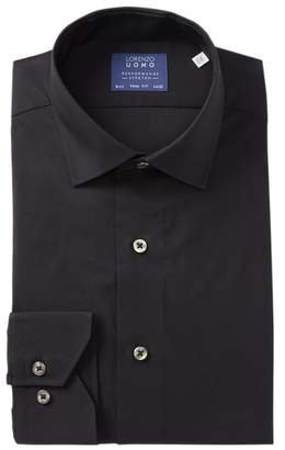 Lorenzo Uomo Travel Cotton Stretch Trim Fit Dress Shirt
