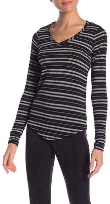Poof Striped Long Sleeve V-Neck Tee