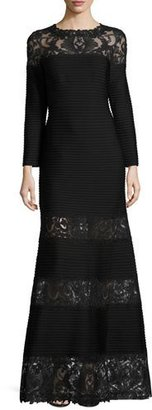 Tadashi Shoji Long-Sleeve Pintucked Lace-Trim Gown, Black $508 thestylecure.com