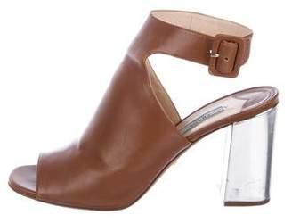 Prada Leather Peep-Toe Booties