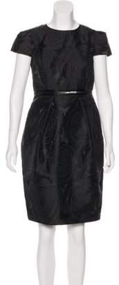 Carmen Marc Valvo Short Sleeve Knee-Length Dress Black Short Sleeve Knee-Length Dress