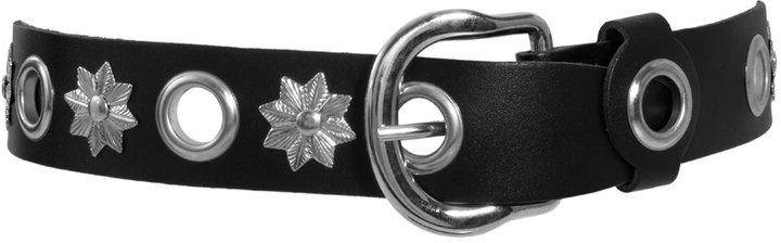 Black & Brown Jo Leather Hip Belt With Eyelets And Stars
