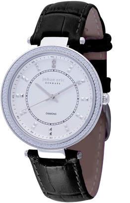 Johan Eric Ballrup Quartz Diamond Black Leather Strap Watch