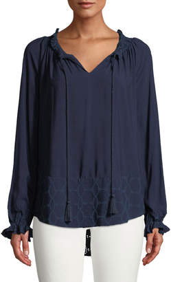 Donna Karan Tassel-Neck Long-Sleeve Eyelet Embroidered Blouse