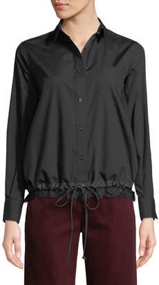 Sacai Long-Sleeve Button-Front Poplin Shirt w/ Lace Hem