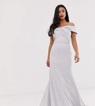 Bardot Jarlo Petite knot front maxi dress in silver gray