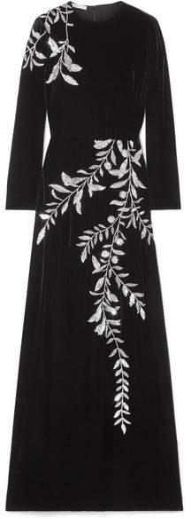 Oscar de la Renta - Crystal-embellished Velvet Gown - Black