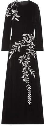Oscar de la Renta Crystal-embellished Velvet Gown - Black