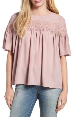 Lucky Brand Lace Trim Blouse