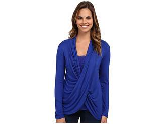 Miraclebody Jeans Tobi Twisted Wrap Top w/ Body-Shaping Inner Shell Women's Blouse