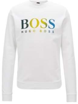 BOSS Hugo French-terry sweatshirt multicolored degrade logo print M White