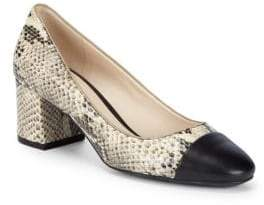 Cole Haan Snakeskin Block Heel Leather Pumps