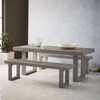 """west elm Portside Outdoor 76.5"""" Dining Table + Bench Set - Weathered Gray"""