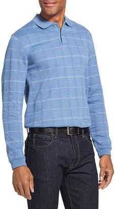 Van Heusen Long Sleeve Windowpane Knit Polo Shirt