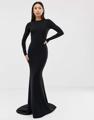 c942ebba4a3d Club L London fishtail maxi dress in black