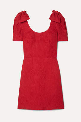 Rebecca Vallance Harlow Bow-detailed Cloqué Mini Dress - Red