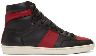 Saint Laurent Black and Red SL/10 High-Top Sneakers