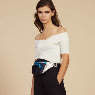 Sandro Knit Top With Crossover Neckline