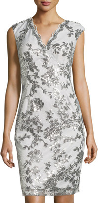 Marina Swan Queen Sequined Sheath Dress, Silver $139 thestylecure.com