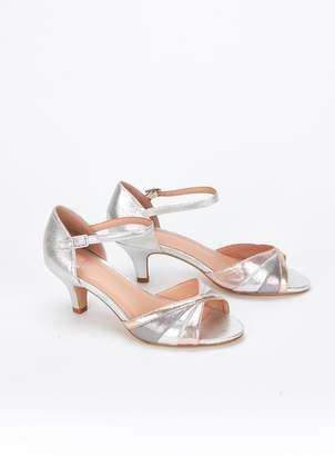 e730b83ec6a Evans EXTRA WIDE FIT Silver Peep Toe Heel Sandals