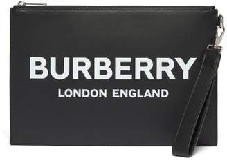 Burberry Edin Logo Print Leather Pouch - Mens - Black