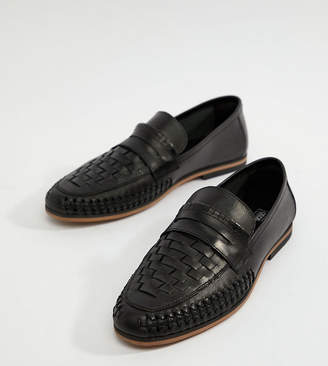 Asos DESIGN Wide Fit Loafers In Woven Black Leather
