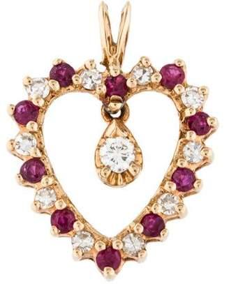 13K Ruby & Diamond Heart Pendant
