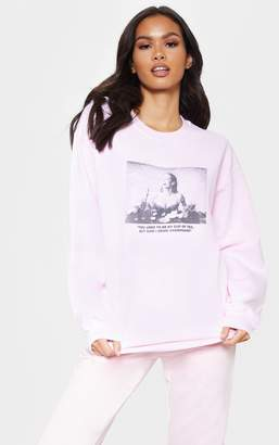PrettyLittleThing Baby Pink Drink Champagne Slogan Oversized Sweater