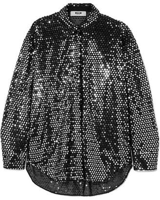 MSGM Sequined Chiffon Shirt - Silver