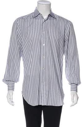 Kiton Pinstriped Button-Up Shirt