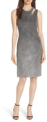 Milly Bonded Faux Suede Fractured Sheath Dress