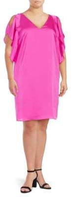 Rachel Roy Plus Satin Flutter-Sleeved Dress