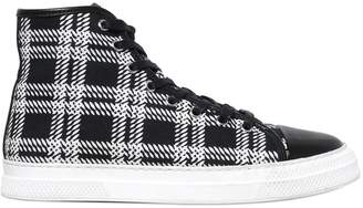 Mother of Pearl Plaid Fabric High Top Sneakers