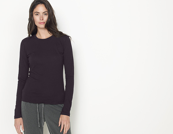 James Perse Mini Jersey Long Sleeve Crew Neck