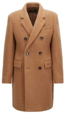 BOSS Hugo Double-breasted slim-fit coat in a blended wool 38R Beige