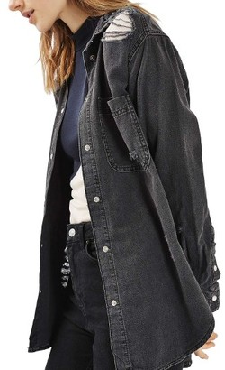 Women's Topshop Elton Ripped Denim Shirt $70 thestylecure.com