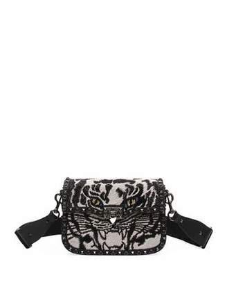Valentino Guitar Rockstud Rolling Noir Tiger Shoulder Bag