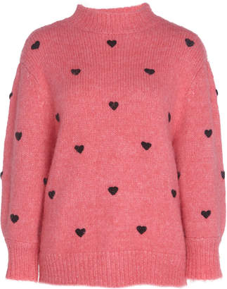 RIXO Ariana Embroidered Heart Knit Sweater