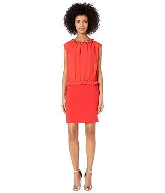 Moschino Sweetheart Sheath Dress with Blouse Overlay