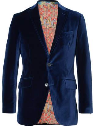 Etro Royal-Blue Slim-Fit Unstructured Stretch-Cotton Velvet Blazer