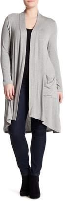 Bobeau Long Open Front Snit Cardigan (Plus Size)
