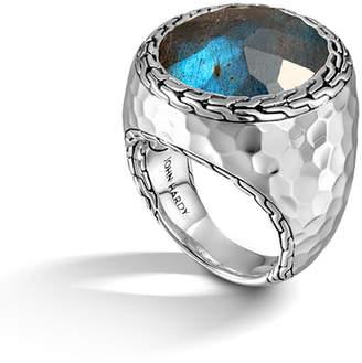 John Hardy Palu Silver Large Oval Labradorite Ring, Size 7